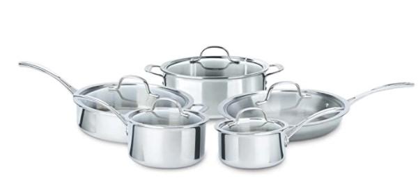 Calphalon 10 Piece Tri-Ply Cookware Set, Medium, Stainless Steel