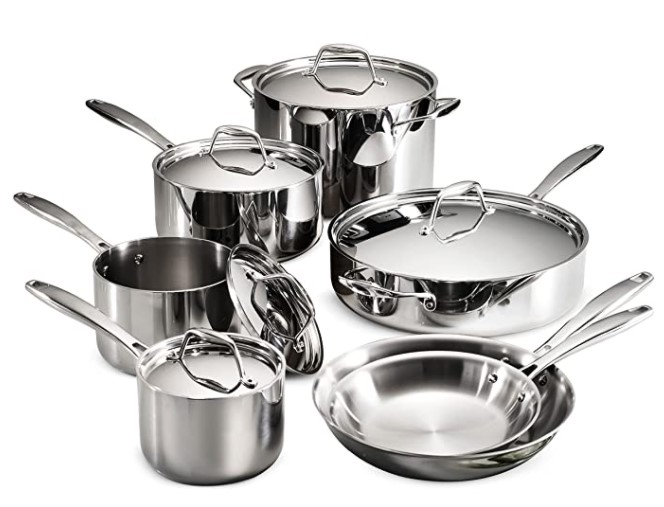 Tramontina 80116/249DS Gourmet Stainless Steel Induction-Ready Tri-Ply Clad 12-Piece Cookware Set
